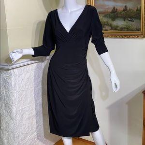 Ralph Lauren Deep V-Neck Crossover Rushed Dress